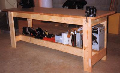 Home Built Workbench With Tool Storage Shelf